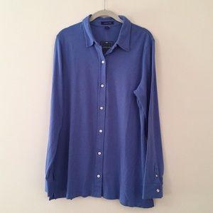 Cotton knit button up shirt